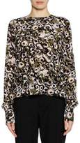 Marni Long-Sleeve Marken Abstract-Print Silk Woven Blouse