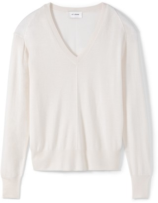 St. John Cashmere Silk Knit V-Neck Sweater