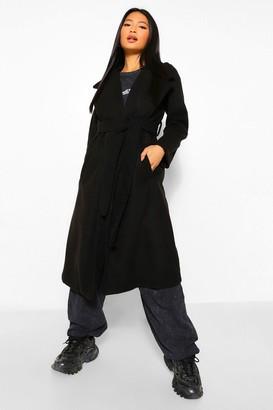 boohoo Petite Longline Wool Look Belted Coat