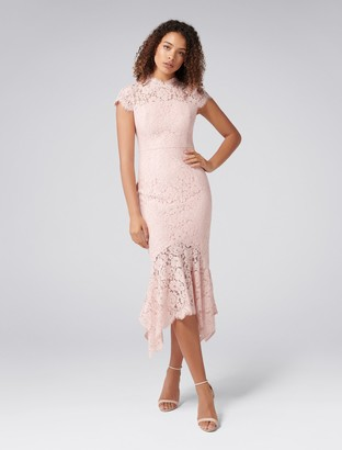 Forever New Frankie Petite Lace Maxi Dress - Blush - 4