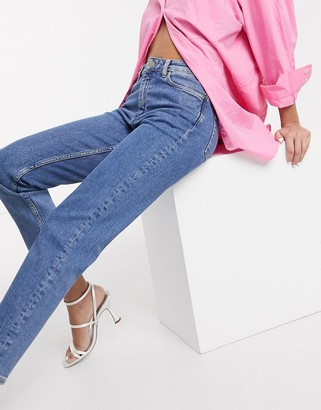 And other stories & organic cotton mid rise slim leg jeans in light blue