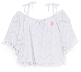 U.S. Polo Assn. White Zigzag Lace Peasant Top - Girls