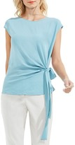 Vince Camuto Side Tie Mixed Media Blouse (Regular & Petite)