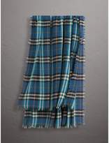 Burberry Check Modal and Wool Square Scarf, Blue