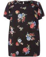 Dorothy Perkins Womens DP Curve Plus Size Floral Flutter Sleeve T-Shirt- Black