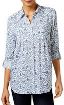 Style And Co. Mixed-Print Roll-Tab Shirt