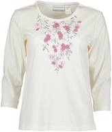 Alfred Dunner Ivory Floral-Applique Three-Quarter Sleeve Top - Petite