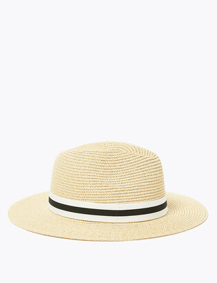 Marks and Spencer Straw Ribbon Detail Fedora Hat