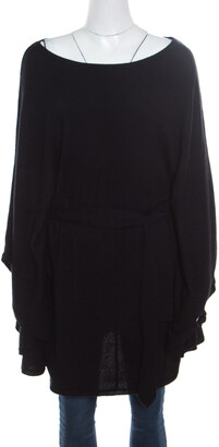 Ralph Lauren Black Cashmere Belted Poncho S