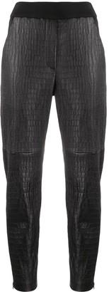 Brunello Cucinelli Crocodile-Effect Leather Trousers