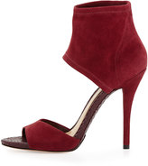 Brian Atwood Correns Suede Ankle-Band Sandal, Crimson