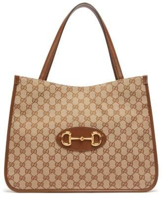 Gucci 1955 Horsebit Leather-trimmed Tote Bag - Womens - Tan Multi