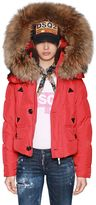 DSQUARED2 Hooded Nylon Down Bomber Jacket W/ Fur