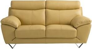 Holborn Leather Loveseat Orren Ellis Upholstery: Yellow