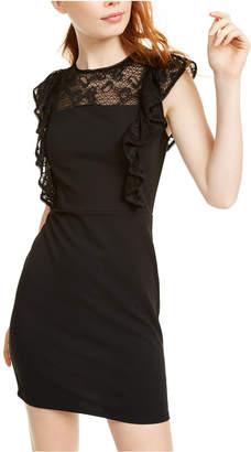 As U Wish Juniors' Lace Trim Ruffle Dress