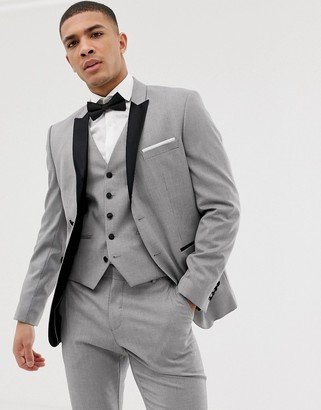 Selected slim suit jacket with peaked satin lapel in gray