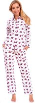 Patricia from Paris Women's Classic Plaid Button Down Cotton Flannel PJ Sleepwear Set (L, Cream Owl Print)