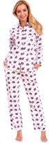 Patricia from Paris Women's Classic Plaid Button Down Cotton Flannel PJ Sleepwear Set (M, Pink Plaid)