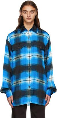 Dries Van Noten Blue Viscose Plaid Shirt