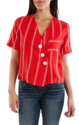 KUT from the Kloth Biancca Button Detail Stripe Shirt
