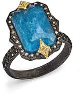 Armenta 18K Yellow Gold & Blackened Sterling Silver Old World Midnight Cravelli Blue Quartz Triplet, White Diamond & Champagne Diamond Ring