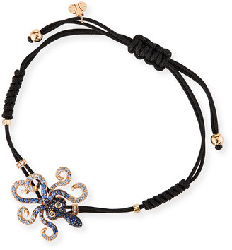 Pippo Perez 18k White Gold Diamond and Sapphire Octopus Pull-Cord Bracelet