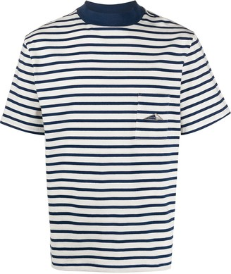 Anglozine patch-pocket striped T-shirt