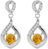 Sabrina Silver 14K White Gold Natural Citrine Earrings with Diamond Accents Round 4 mm