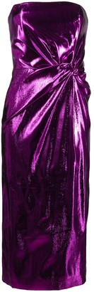 16Arlington Himwari metallic strapless midi dress