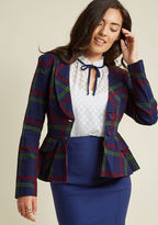 Collectif So Glad It's Plaid Blazer in S - Classic Blazer by Collectif from ModCloth