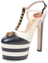 Gucci Studded Feline T-Strap Leather Pump