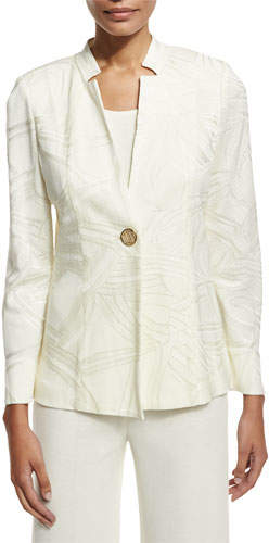 Misook Notch-Collar Ribbon-Print Jacket, Cream