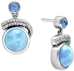 Marahlago Larimar (10mm) & Multi-Gemstone (1-3/8 ct. t.w.) Drop Earrings in Sterling Silver