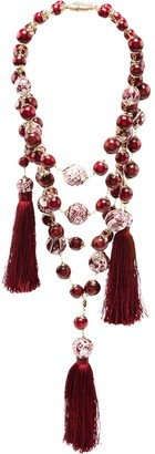 Rosantica Bead Drape Tassel Necklace