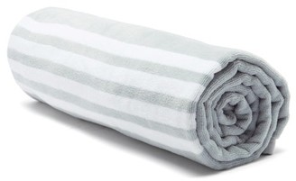 Thom Browne 4-bar And Tri-colour Tag Cotton-terry Towel - Grey