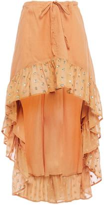 SUNDRESS Ruffled Embellished Metallic Gauze Dress
