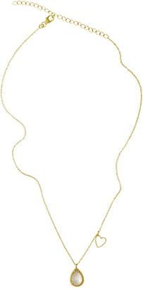 ADORNIA 14K Yellow Gold Vermeil Pear-Cut Moonstone & Enamel Heart Pendant Necklace