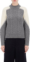 Sacai Women's Colorblocked Cable-Knit Sweater-LIGHT GREY