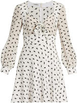 Miu Miu Cat-print long-sleeved silk dress