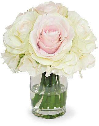 "8"" Royal Hydrangea Arrangement - Faux - The French Bee - arrangement, cream/pink/green; vessel, clear"