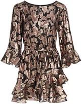 Saloni Marissa Metallic Brocade Mini Dress