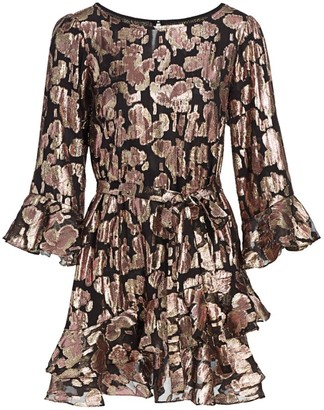 Saloni Marissa Metallic Brocade Mini Dress