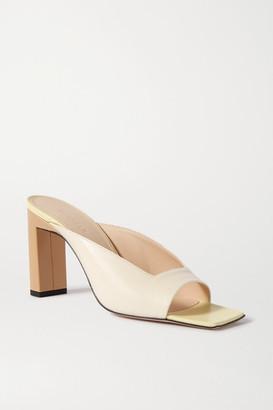 Wandler Isa Color-block Leather Mules - Cream
