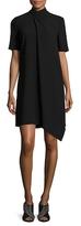 Anne Klein Drape Front Asymmetrical Crepe Shirt Dress
