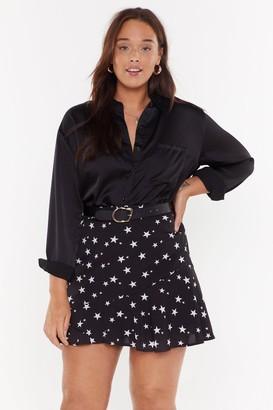 Nasty Gal Womens Black Start Print Plus Size Mini Skirt