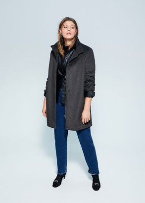 MANGO Violeta BY Funnel neck coat dark heather grey - S - Plus sizes