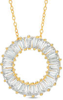 Zales Baguette Lab-Created White Sapphire Open Circle Pendant in Sterling Silver with 18K Gold Plate