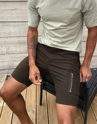 ASOS DESIGN skinny shorts with MA1 pocket in khaki
