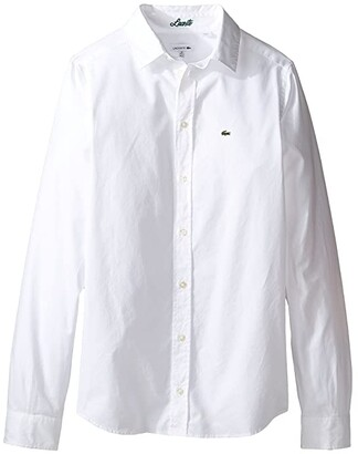 Lacoste Kids Long Sleeve Classic Oxford Shirt (Little Kids/Big Kids) (White) Boy's Clothing