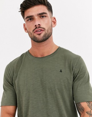 Jack and Jones Originals layered hem raw edge t-shirt in khaki-Green